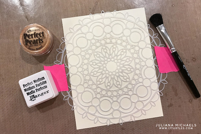 Ranger Ink Letter It™ Perfect Pearls with stencil