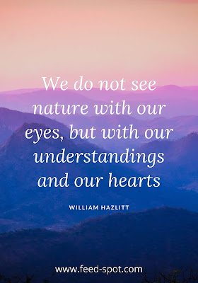 We do not see nature with our eyes, but with our understandings and our hearts. __ William Hazlitt