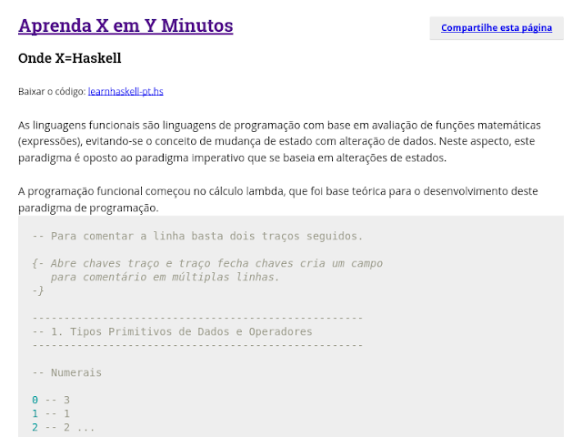 Aprenda X em Y minutos, Haskell.
