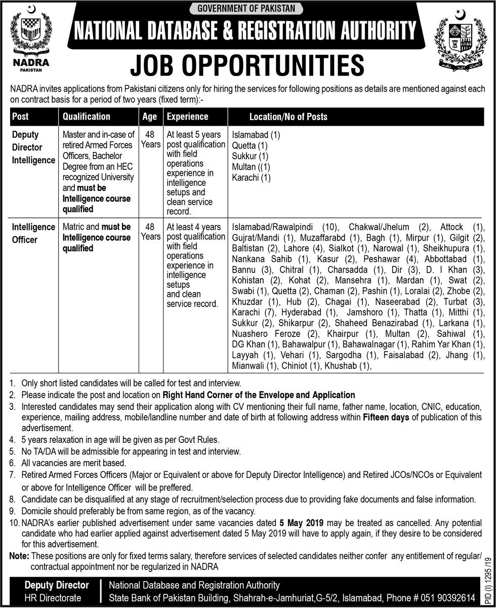 Advertisement for NADRA Pakistan Jobs 2019
