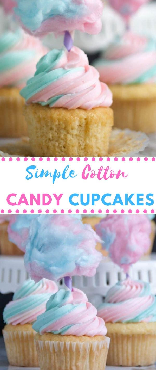 Simple Cotton Candy Cupcakes #Simple #Cotton #Candy #Cupcakes Dessert Recipes Easy, Dessert Recipes Healthy,