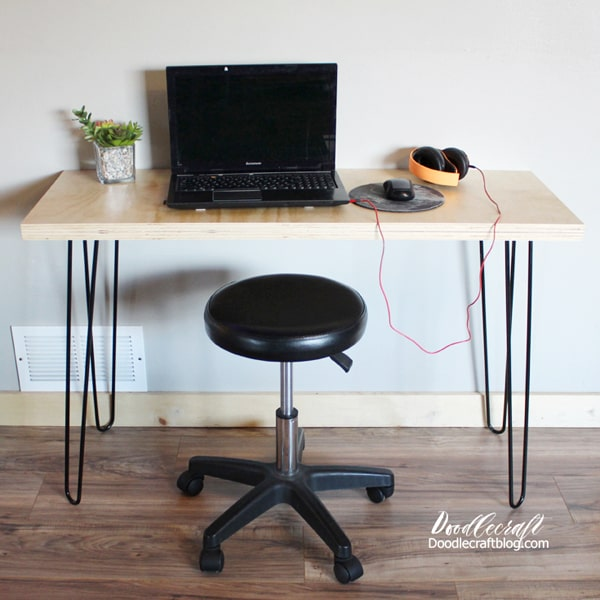 Make a versatile table or desk using hairpin legs and 2 sheets of plywood.