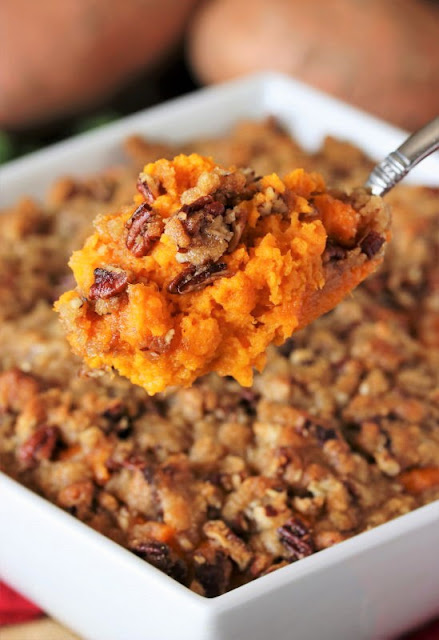 Serving Spoon with Southern Sweet Potato Casserole Image
