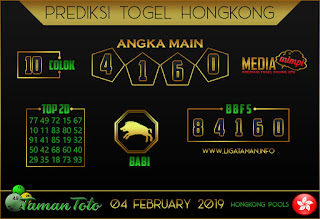 Prediksi Togel HONGKONG TAMAN TOTO 04 FEBRUARI 2019