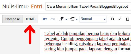 Tampilan Teks Editor Blogger