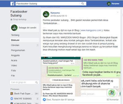 Ini postingan saya di Grup Facebooker Subang