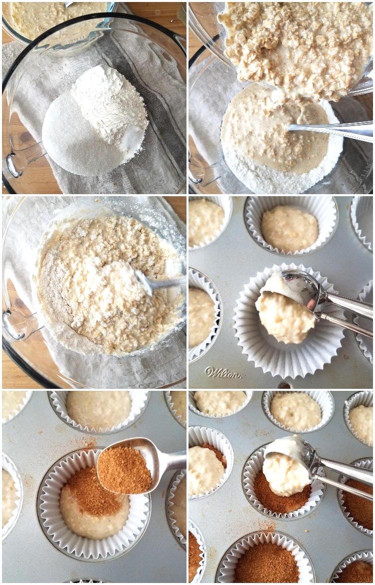 Preparación de los muffins de avena con canela paso a paso