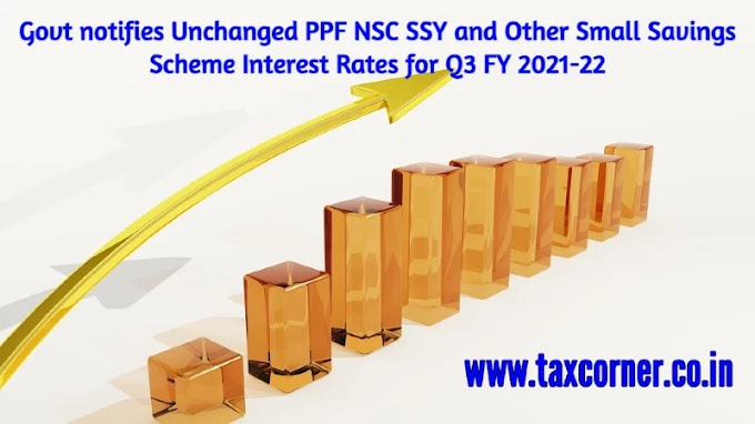 Govt notifies Unchanged PPF NSC SSY and Other Small Savings Scheme Interest Rates for Q3 FY 2021-22