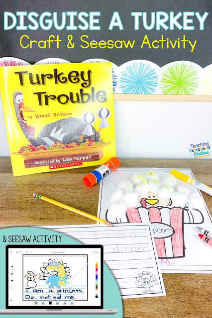 turkey trouble book, disguise a turkey craft, writing activity and laptop displaying Seesaw activity