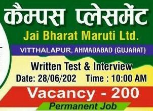 ITI Permanent Job Campus Placement For Jai Bharat Maruti Ltd. (JBM) Vitthalapur, Gujarat at Sujan ITI Gaya, Bihar