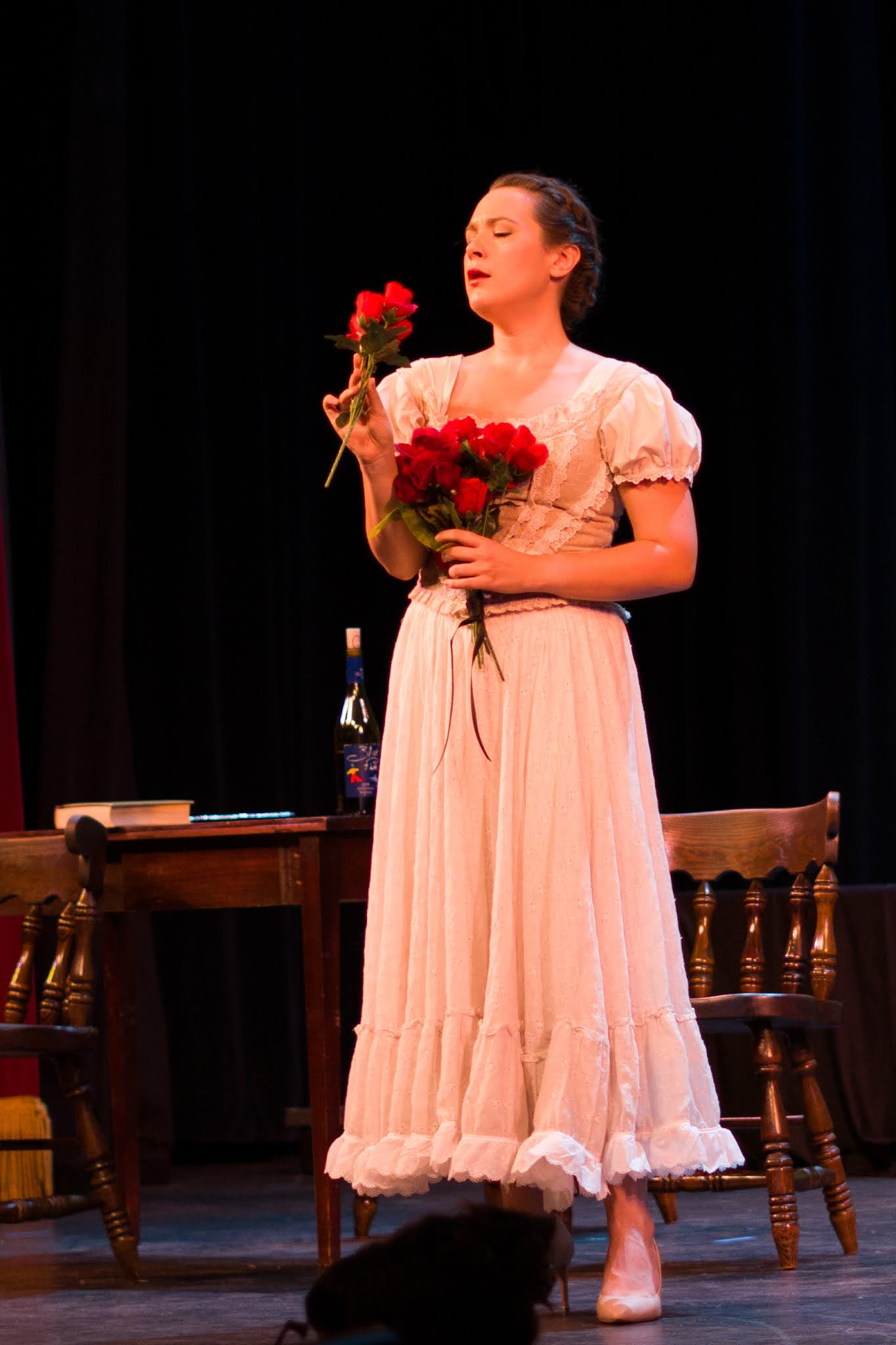 IN REVIEW: soprano CHRISTINE TAYLOR PRICE as Adina in Opera in Williamsburg's September 2021 production of Gaetano Donizetti's L'ELISIR D'AMORE [Photograph © by Diego Valdez; used with permission]
