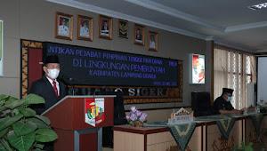 Bupati Lampura Lantik Tiga Pejabat Pimpinan Tinggi Pratama di Aula Siger