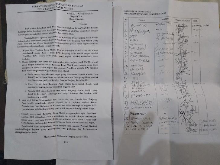 Diduga Pemilihan BPD Tanjung Pauh Mudik secara Diam-Diam