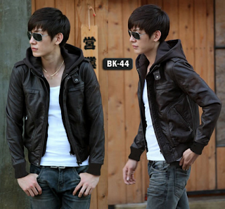 jaket kulit with hoodie murah