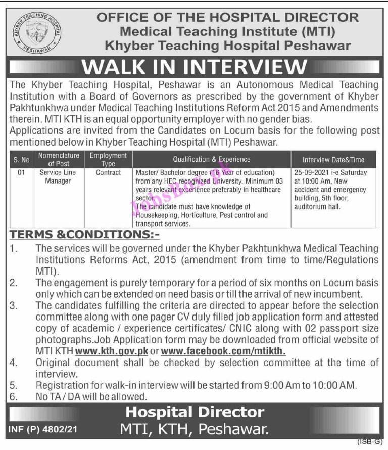 www.kth.gov.pk - KTH Khyber Teaching Hospital Peshawar Jobs 2021 in Pakistan
