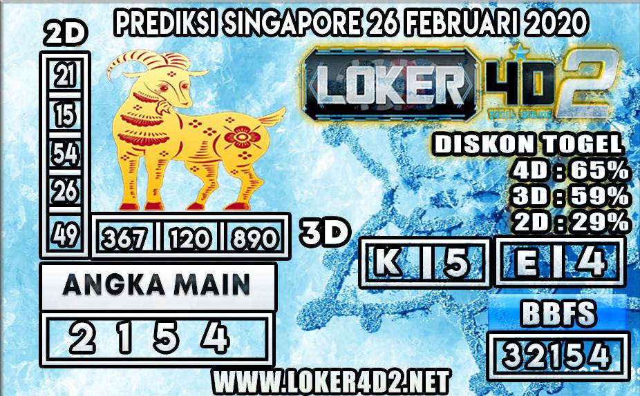 PREDIKSI TOGEL SINGAPORE LOKER4D2 26 FEBRUARI 2020