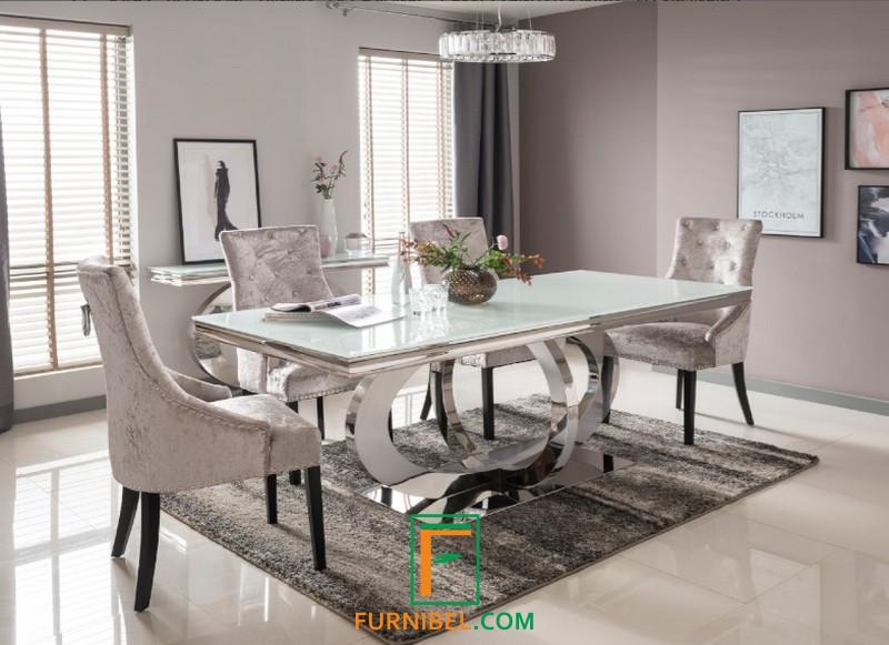 Set Meja Makan Marmer Putih Kursi 4 6 Formasi Custom