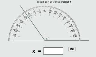 Medir ángulos con el transportador.