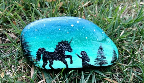 rock painting ideas with unicorns silhouette
