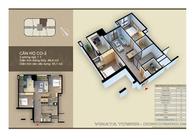 Căn hộ CO-03 chung cư Vinata