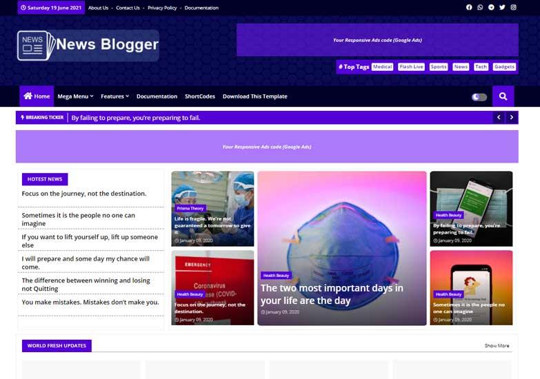 Blogger Template News Blogger
