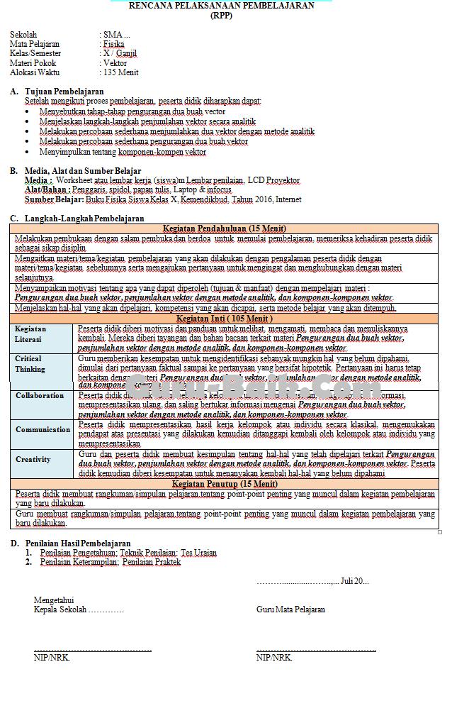 Gambar RPP 1 Lembar Fisika Kelas X SMA Tahun 2021/2022