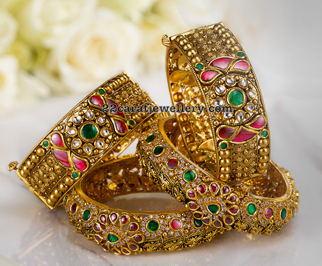 Kundan Antique Bangles by GRT