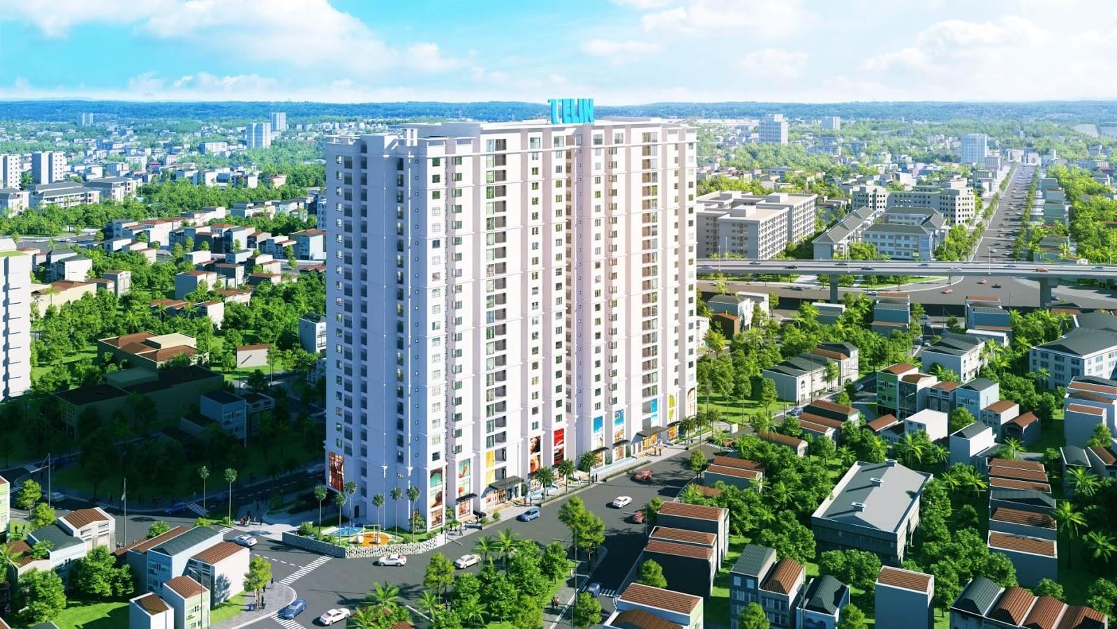 Phối cảnh toà căn hộ cao cấp AMber Riverside Minh Khai