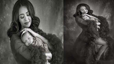 Surveen Chawla Photo shoot with her one month daughter Eva