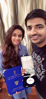 Keerthy Suresh with Cute and Awesome Lovely Smile with Actor Sathish