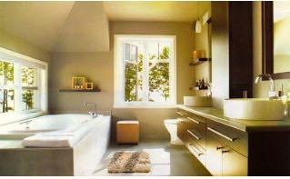 Renovated traditional style bathroom.