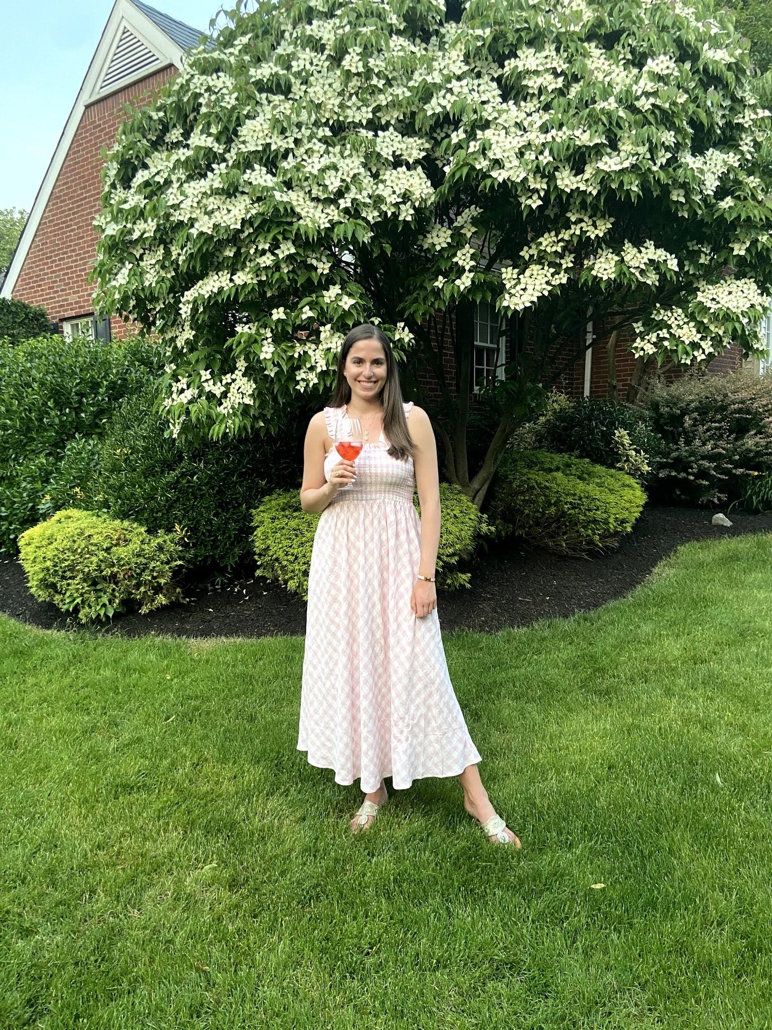 maxi dress, gingham dress, pink dress