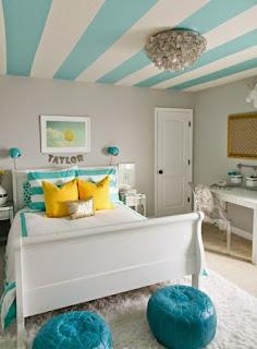 Dormitorio adolescente gris turquesa