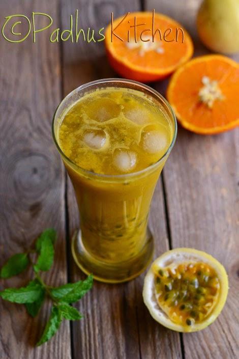 Orange Mint Passion Fruit Juice Recipe Orange Passion