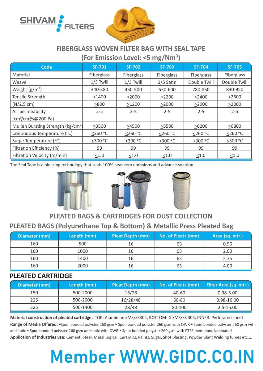 SHIVAM FILTERS - 9545856555 INDUSTRIAL Filter Bag GIDC