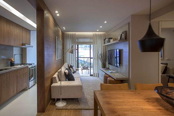 3 pequenas salas de estar e jantar integradas jeito de for Sala cocina pequena