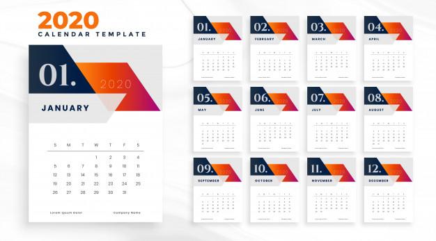 Plantilla calendario 2020 geométrico