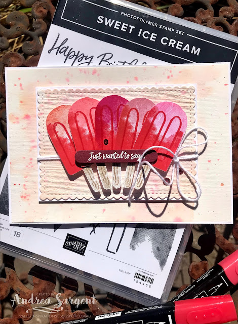A card featuring Stampin' Up!s Poppy Parade, with Sweet Ice cream stamps and water colouring, 2-step stamping and different embossing techniques by Andrea Sargent at Valley Inspirations, Australia.