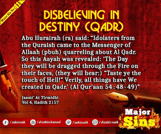 MAJOR SIN. 41.2. DISBELIEVING IN DESTINY (QADR)
