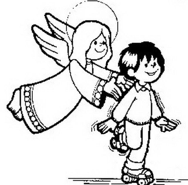 Angelo custode da colorare for Angeli per bambini da colorare