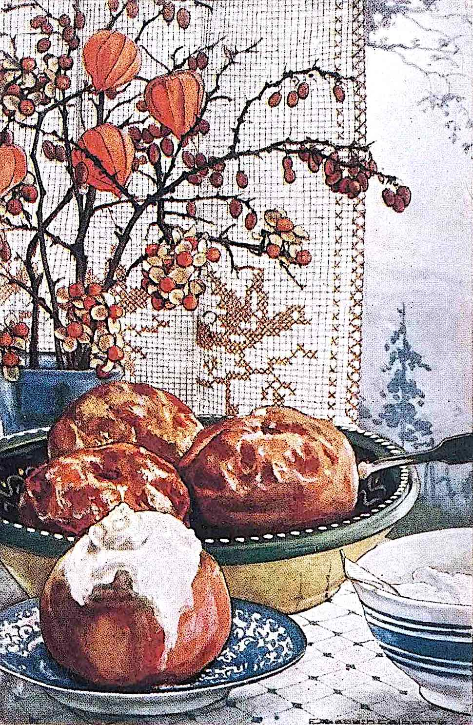 1923 baked apples with syrup, a color illustration