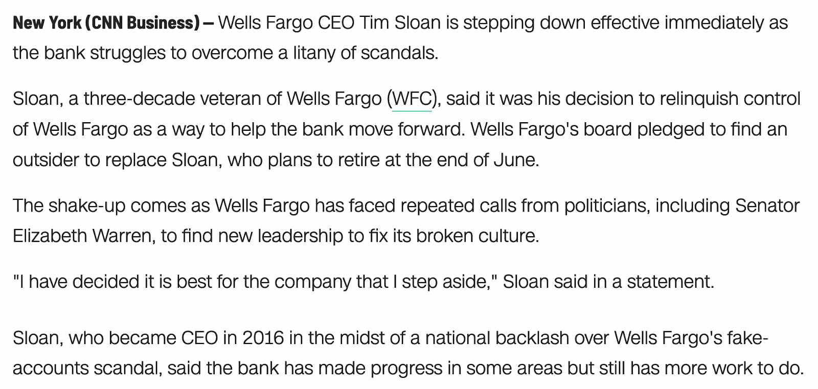 free to find truth: 58 113 | Tim Sloan, Wells Fargo CEO, resigns