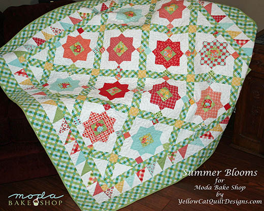 Summer Garden Quilt Free Tutorial designed by Sharon Denney Parcel of Yellow Cat Quilt Designs for Moda Bake Shop