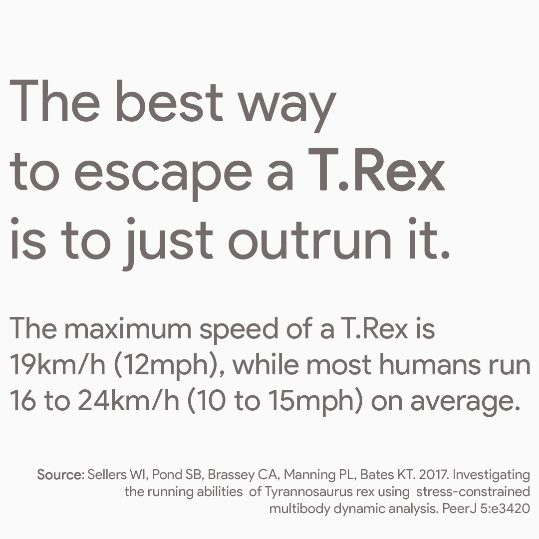 How do you escape a T.Rex? Just outrun it! The maximum speed of a T.Rex is 12 mph while most humans run 10 to 15 mph on average.