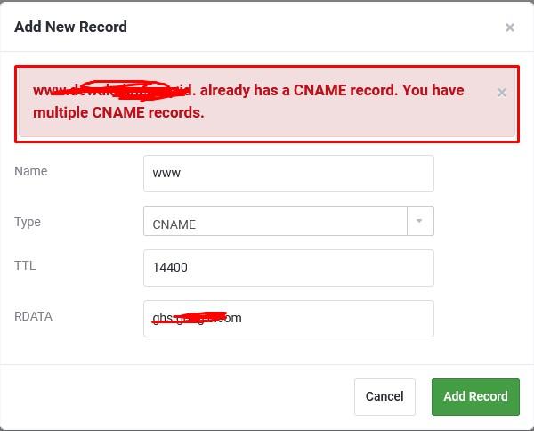 Error Saat Menambahkan WWW di IDCloudhost