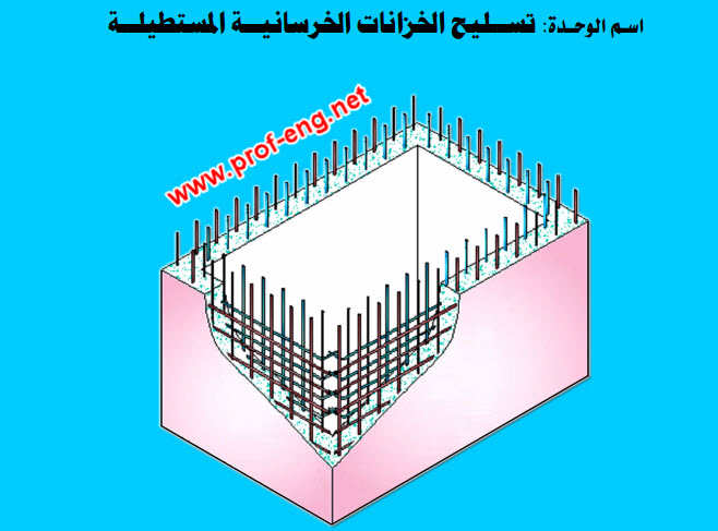 تسليح الخزانات الخرسانية المستطيلة pdf | تفاصيل تسليح الخزانات