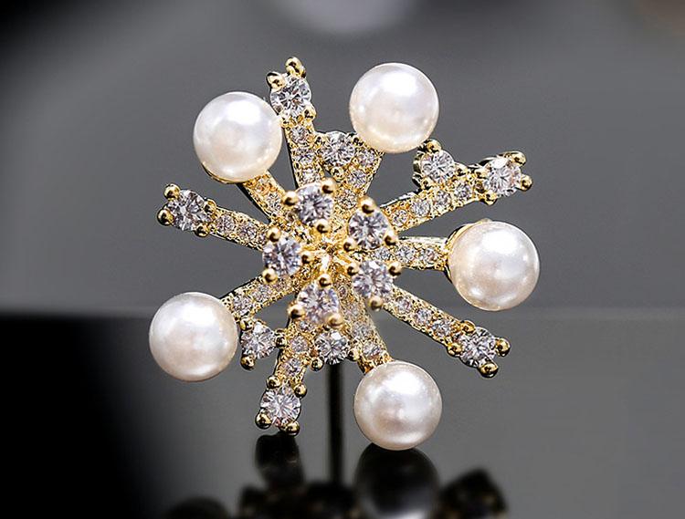 夢幻雪花淡水珍珠鋯石耳環