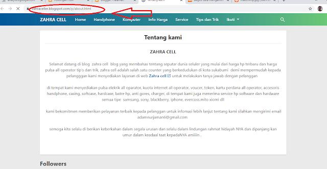 cara memasukan URL halaman ke tema blogger