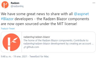 Los componentes Radzen para Blazor son ahora open source