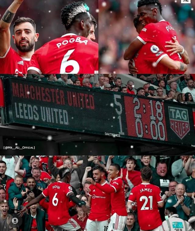 Bruno hattrick, Pogba 4 assist, United tancap gas dipekan pembuka Liga Primer Inggris